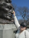 Kara Rubbing Lincoln's Nose