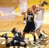 Valparaiso University's Abby Dean and Purdue University Calumet's Staci Groom and Amanda Gaskin