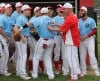 Portage baseball team wears blue jerseys to support assistant coach Dixon