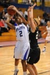 Bloom Twp.'s Taraisia Alexander tries to shoot over the defense