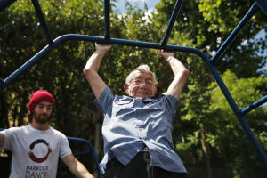 "Seniors learn ""parkour,"" sport of daredevil youths"