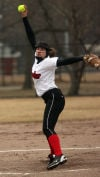 Munster's Amanda Osterhus pitches against Homewood-Flossmoor on Wednesday.