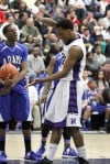 BBK_MC_REG_FINAL: Merrilville's Darion Williams celebrates a basket and a foul 
