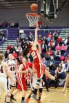 Crown Point's Katija Tarailo shoots against LaPorte during Friday's semifinals of the Class 4A Hobart Sectional.