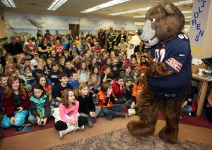 Staley Da Bear entertains youngsters at the Lowell Public Library