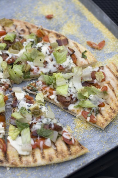 Grilled BLT pizza features a summer tomato-basil sauce.