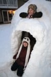 Dyer girl build an igloo...complete with a skylight