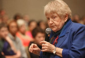 Eva Mozes Kor addresses local middle, high school students