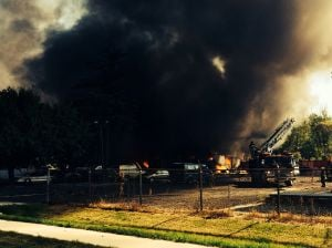 Firefighters battle huge blaze at Calumet Township business