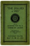 "Historic Stage Program for ""The Jollies of 1921"" at Parthenon Theatre in Hammond, Ind."