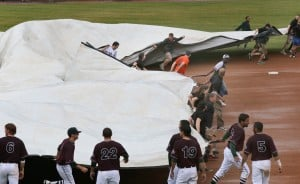 Rain forces ground crew to dump 'everything' during RailCats rain delay