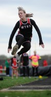 Washington Twp.'s Brandy Moore flies in the long jump
