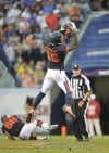 Bears wide receiver Brandon Marshall catches a pass from quarterback Jay Cutler in Sunday's 31-30 win over the Vikings.