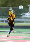 Hobart keeper Kenneth Haluska leaps in an attempt to block Billy Biehl's second goal of the nigh