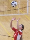 Andrean's Korie McCrea sets a teammate against Lowell on Thursday.