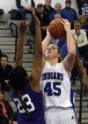 Lake Central's Lindsay Kusbel shoots over Merrillville's Riana Todd on Friday.