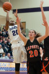 Merillville junior forward Jaz Talley shoots against LaPorte sophomore guard Kyleigh Kubik during Saturday's Class 4A Hobart Sectional title game.