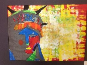 Portage elementary art Youth Art Month Exhibit at Portage Public Library