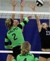 Valparaiso's Kelsie Schutz; Lake Central's Megan Malestestinic and Julia Kruzan
