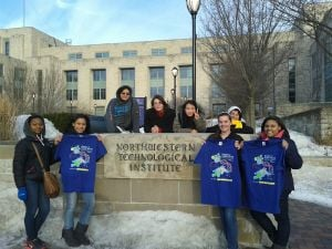 East Side teen amoung De La Salle students at Women in Engineering seminar