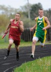 Jaime Cervantes of River Forest races Brandon Grubl of Morgan Twp.