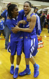 Lake Central's Robert Ryan and Joe Bannister celebrate after defeating Homestead for the Class 4A Lafayette Jeff Semistate title.