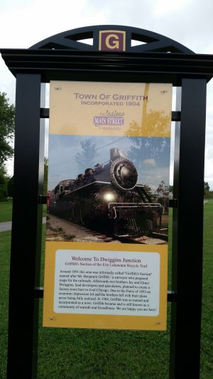 Signage on the bike trail helps promote new Griffith