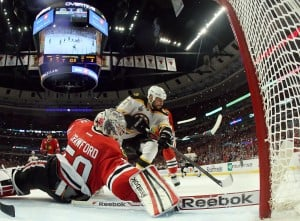 Hawks take measure of Bruins, aim for faster start in Game 2