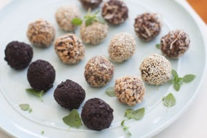 Spiking chocolate truffles with tea and basil