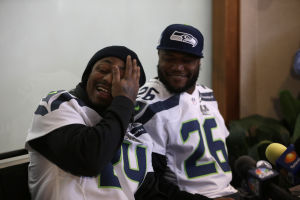 Seattle back again barely talks to reporters during a media session