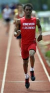 Matt Anyiwo of Homewood-Flossmoor runs in a heat of the 800 meters  during the Thornton Classic on Saturday.