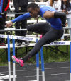 Jonah Wiley of Bloom Township is well in front of the pack in the first heat of the 110-meter hurdles at Wednesday's SAC track meet.