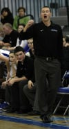 Lake Central head coach Marc Urban reacts to a foul called against his team during Friday's game with Merrillville.