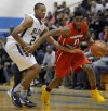 Bloom Townshp's Nyhree Mitchell guards H-Fs Jason Scott