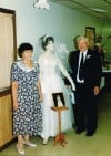 Peggy and Chester Potempa with Bride's Gown at 40th Wedding Anniversary Party in 1993