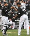 White Sox pitcher Sergio Santos and catcher A.J. Pierzynski