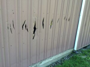 Youths smash church windows, damage pole barn with ax