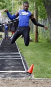Jonah Wiley of Bloom Township competes in the long jump during Wednesday's Southland Athletic Conference track meet.