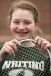 Senior Grace Huss has moved from No. 1 to No. 2 singles this season for Whiting.