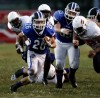 Lake Central's Scott Brandon runs past the E.C.Central line to score in the first quarter Saturday.