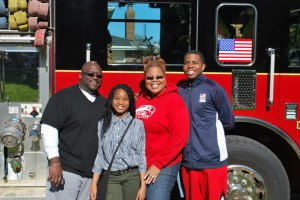 Students win ride to school on fire engine