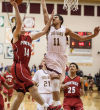 Portage's Nathan Cherry draws a foul on Chesterton's Rhyss Lewis