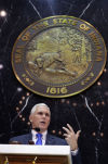Pence sticks to script in address to legislature