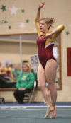 Chesterton's Brandi Tuzinski performs her floor exercise routine during Tuesday night's Duneland Athletic Conference dual meet against Valparaiso.