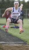 North Newton's Jake Cooper competes in the long jump at Thursday's  Greater South Shore Conference meet.