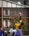 T.F. United goalkeeper Gabriel Gutierrez knocks the ball away during the first half of their match against Thornton Co-op on Saturday.