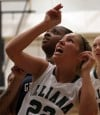 Illiana Christian's Leah Van Drunen and Washington's Javonna Jenkins watch