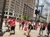 Fans celebrate the Blackhawks' Stanley Cup win