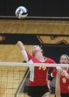 Andrean's Marija Nicksic prepares to spike against Lowell on Thursday.