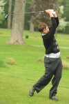 Crown Point's Patrick Mudd tees off Friday afternoon during the Uebele Invitational. He finished with a 77.
